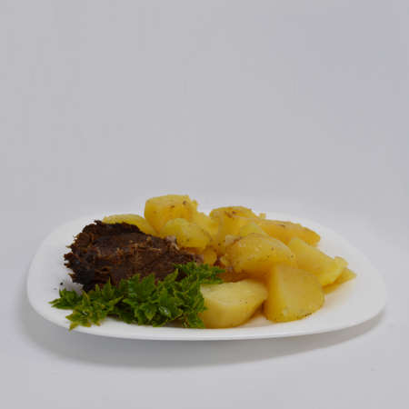 the greens: Potatoes with meat and greens