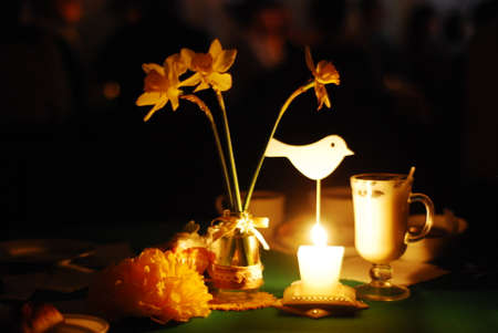 candle light dinner: Romantic restaurant reservations Stock Photo