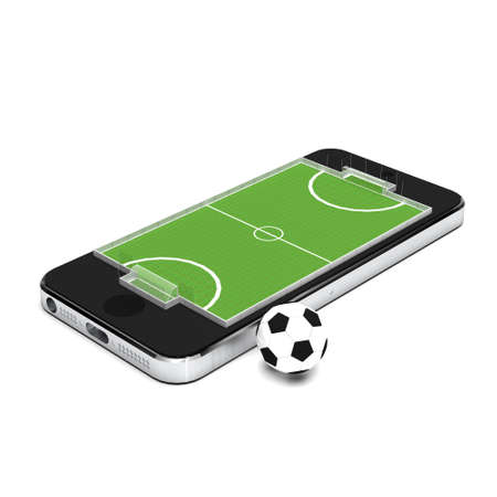 smart goals: Smart phone, mobile telephone with soccer football game