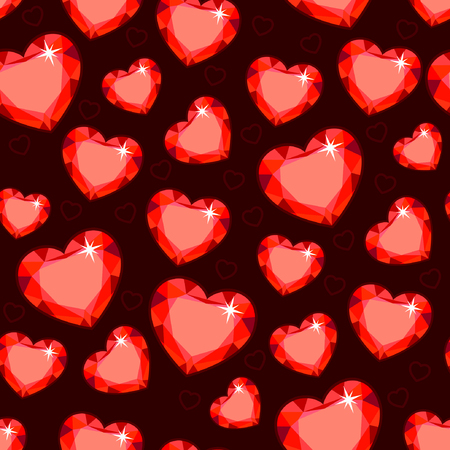 Seamless texture with red hearts