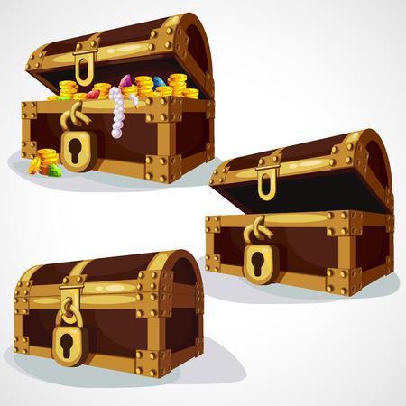 Establecer cofre de pirata de dibujos animados con tesoros y oro