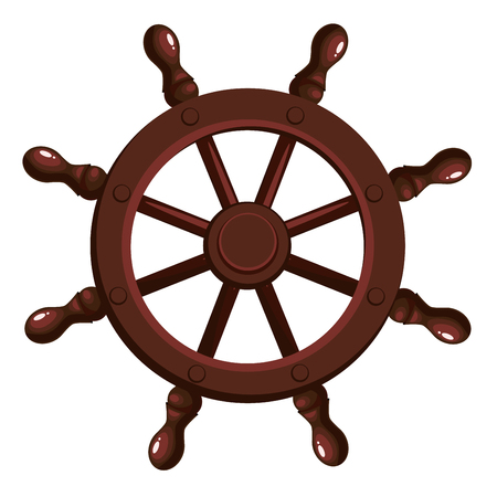 Cartoon ships wheel on a white background. Vector illustration. Illustration