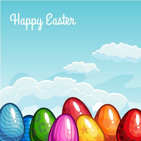 Easter greeting with eggs in the sky. Vector illustration