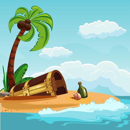 loot: A treasure chest buried on an island with a palm tree. Vector illustration.