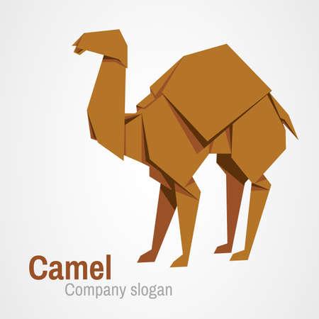 hardy: Camel logo origami isolated on a white backgrounds