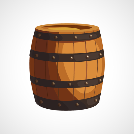 rum: Cartoon illustration of wooden barrels on a white background Illustration