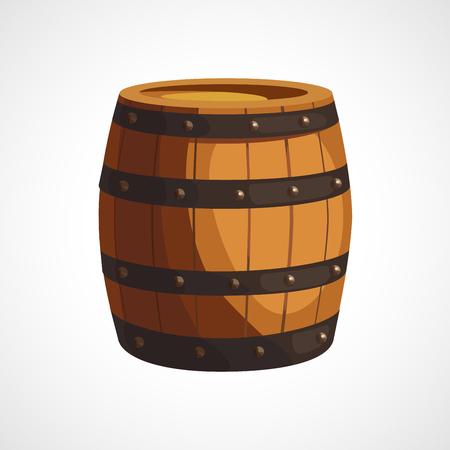 rejas de hierro: Ilustración de dibujos animados de barriles de madera sobre un fondo blanco Vectores