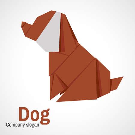 dog: Logo origami dog. Paper dog on a white background.