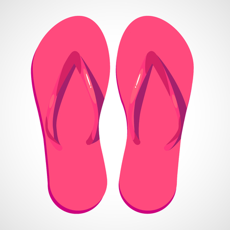 comfortable: Two swimwear sandles isolated on white background. Cartoon pink beach slippers