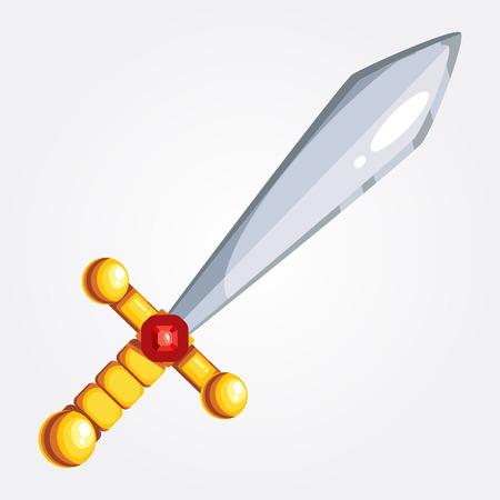 rub: Illustration of a vector sword. Golden hilt inlaid rub nom