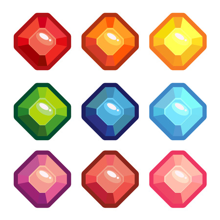 Jewels set, gems and diamonds icons isolated, different colors flat design. Vector illustration Illustration