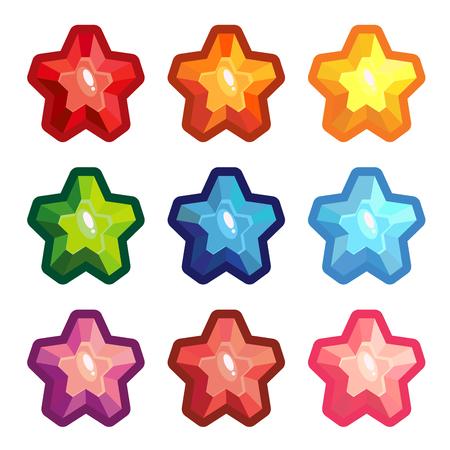 Set of crystal stars isolated on white background. Vector illustration Illustration