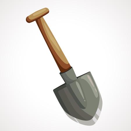 Cartoon iron shovel for the extraction of precious stones Illustration