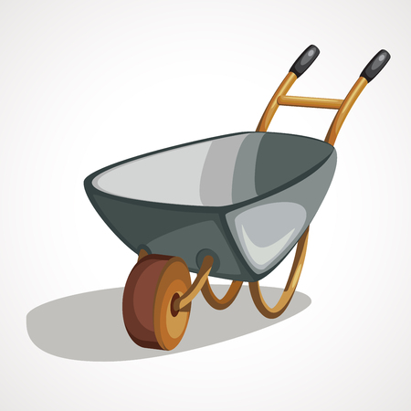 Wheelbarrow icon in cartoon style isolated on white background. Build and repair symbol stock vector illustration. Illustration