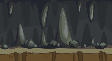 Cartoon seamless background of the dark cave with stalactite Reklamní fotografie - 97451428