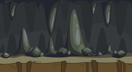 Cartoon seamless background of the dark cave with stalactite