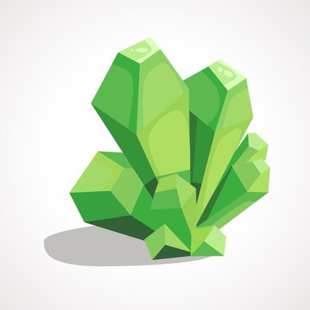 Cartoon green crystal jewelry Ilustração