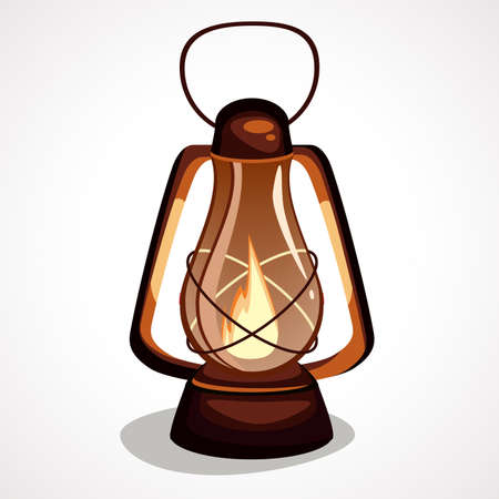 The cartoon is a miner s lamp with a flame vector element.