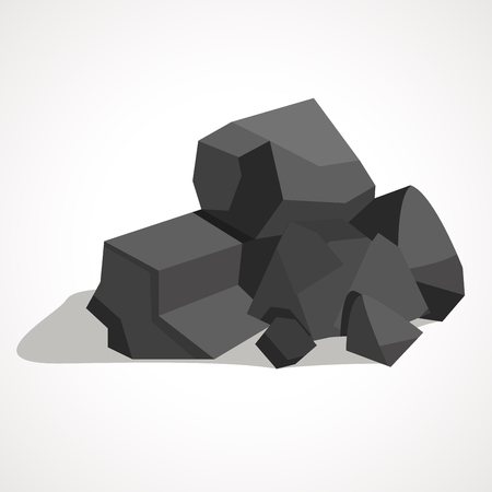 Black minerals from the mine, coal, which is mined in the mine. Mine industry single icon in cartoon style vector symbol stock illustration.