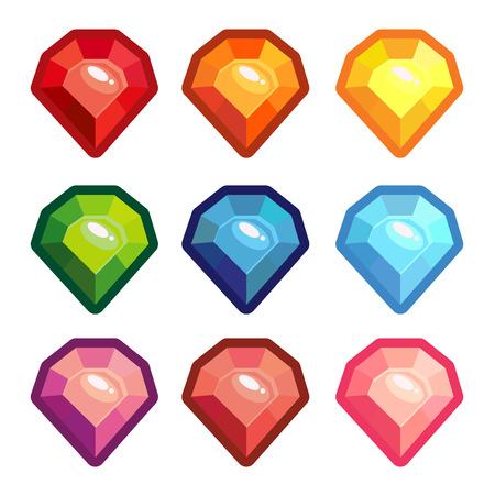 A set of colored crystals with a contour vector element. Ilustração
