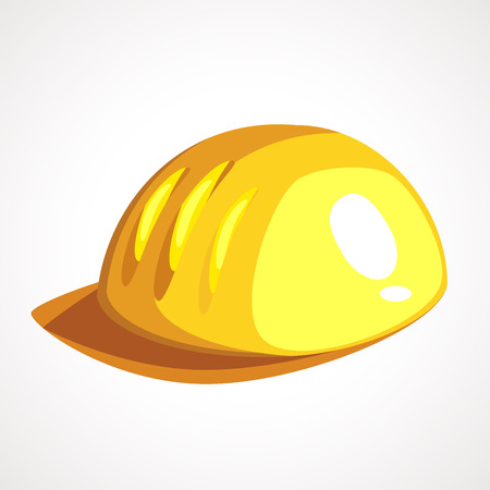 Yellow helmet, hardhat for construction, work tool. Made in cartoon flat style vector illustration.