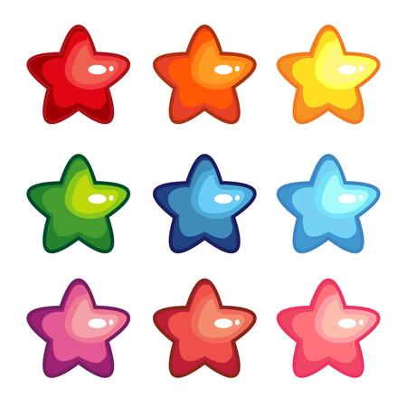 Cartoon vector illustration set of colored stars.
