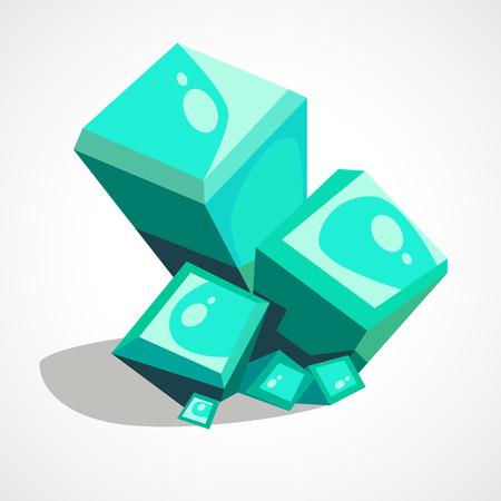 A Vector colorful cartoon crystal. Icon for games. Ilustração