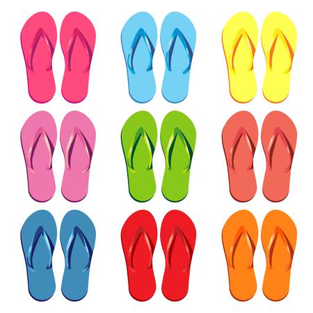 Summer colorful flip flops set. Vector element
