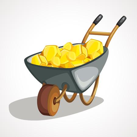 Cartoon wheelbarrow with gold. Vector clip art illustration with simple gradients. Illustration