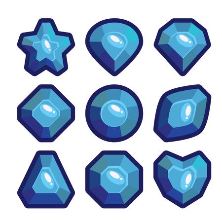Set of cartoon dark blue jewels. Bright gemstones. Vector element illustration. Ilustração