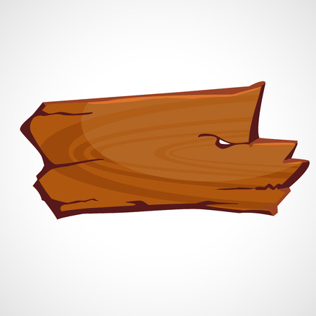 Wooden plate in a cartoon style vector illustration.