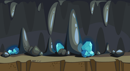 Cartoon seamless background of a dark cave with blue precious crystals Ilustração