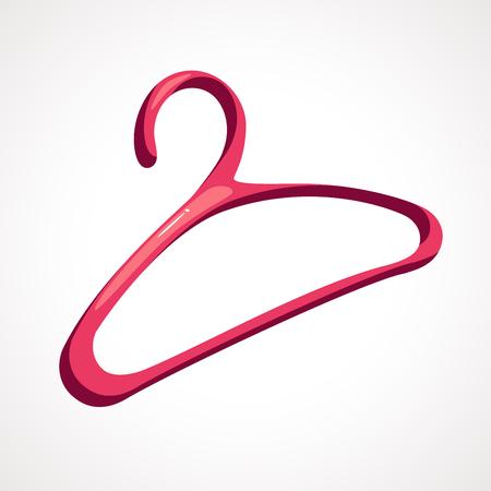 Cartoon clothes hanger pink color. vector illustration
