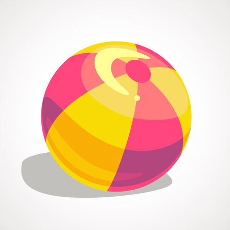 Vector cartoon illustration of red and white beach ball Ilustração