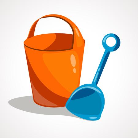 Cartoon baby bucket and scoop. Vector illustration