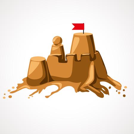 A cartoon sand castle on the beach