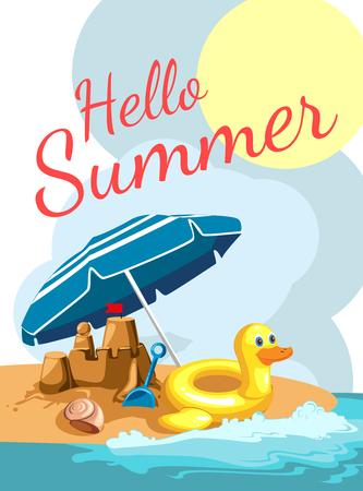 Cartoon greetings card with a beach. Vector illustration