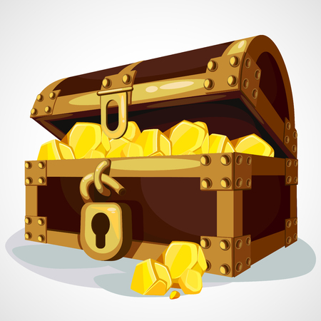 Opened wooden chest with treasures. Vector cartoon illustration