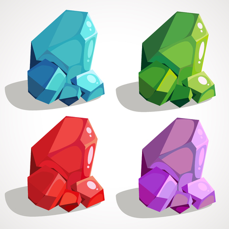 Colorful glossy gems set. Vector crystal collection.Precious stones icons.
