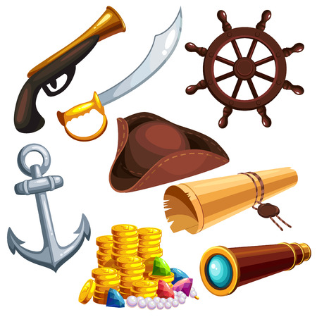 A set of pirate marine things. cartoon vector illustration
