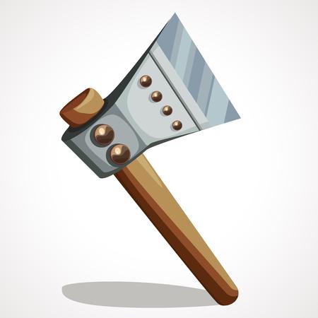 Battle axe steel medieval old and antique weapon, vector illustration Ilustração