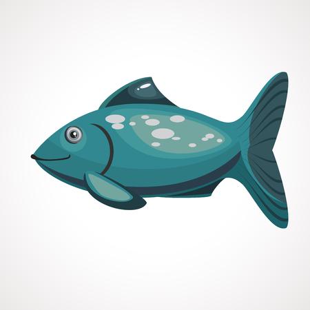 Marine cartoon blue fish with scales. vector illustration Ilustração