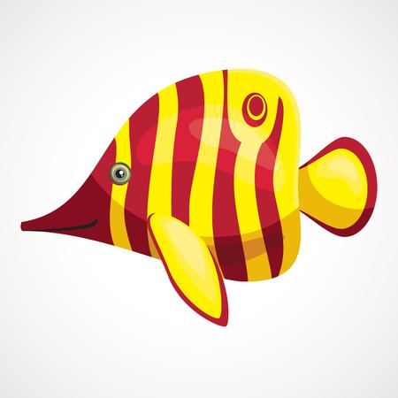 Striped aquarium cute cartoon fish