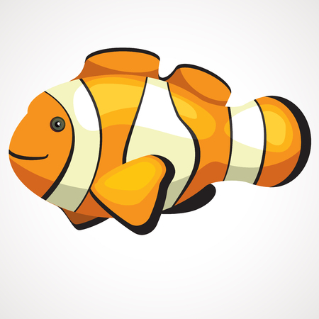 Gold aquarium cute clown fish cartoon. Vector drawing
