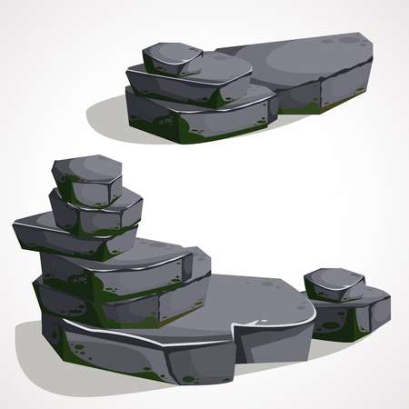 Cartoon Stone boulders are made one by one . Vector drawing