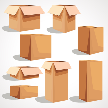 A set of cardboard box on white background Ilustração