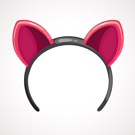 Cartoon pink hoop for hair with ears. Vector drawing Banque d'images - 108025522