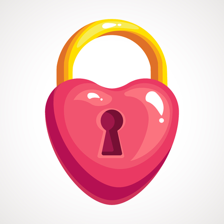 The cartoon icon lock is a heart shaped. Vector illustration