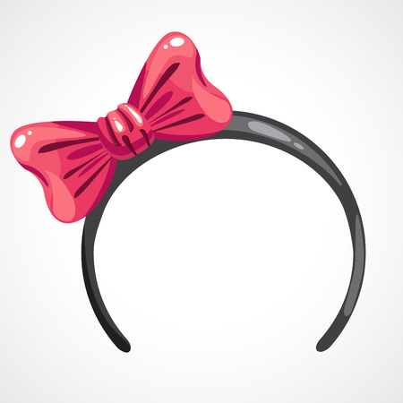 Cartoon hoop with pink bow, hair decoration. Vector illustration Banco de Imagens