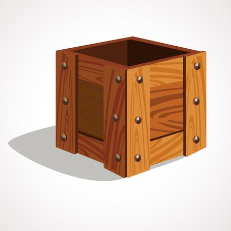 Cartoon wooden box, empty and open. Vector illustration Ilustração